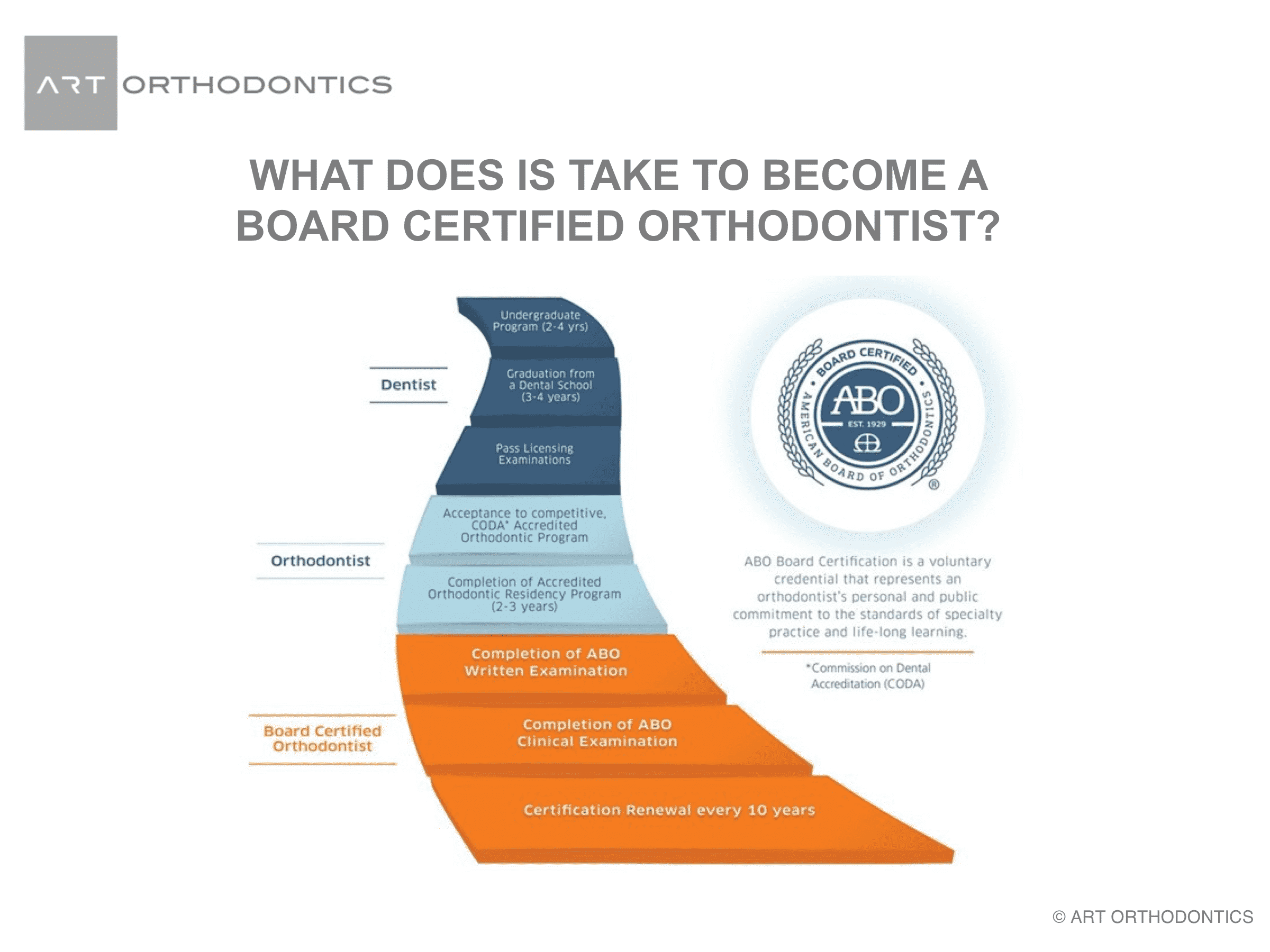 Schematic of the process to become an orthodontist from the American Board of Orthodontics